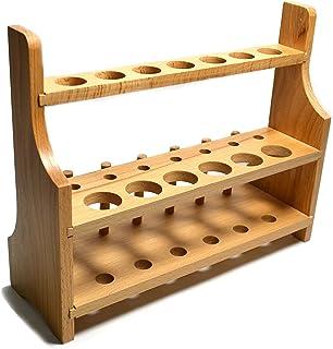 قفسه آزمایشگاهی چوب آزمایشگاهی ، 13 سوراخ ، 6 قفسه 6 پین - 2 قفسه ، اندازه سوراخ 20 میلی متر پایین - 26 میلی متر فوقانی - برای لوله ها یا همزن های تست بلند - بدون طراحی نکته