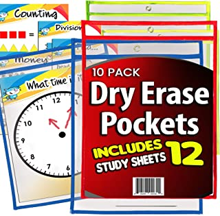 iPrimio - Dry Erase Learning Pockets - Sheets (10 Pack) - Includes 12 Learning Sheets - Multicolored Pockets - Wipes Clean - Fits 9
