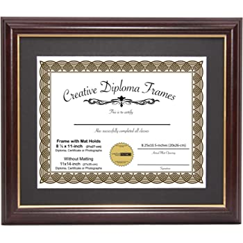 Mahogany Frame Gold Rim CreativePF 11x14mh.gd Black Matting Holds 8.5 11-inch Diploma Easel Installed Hangers