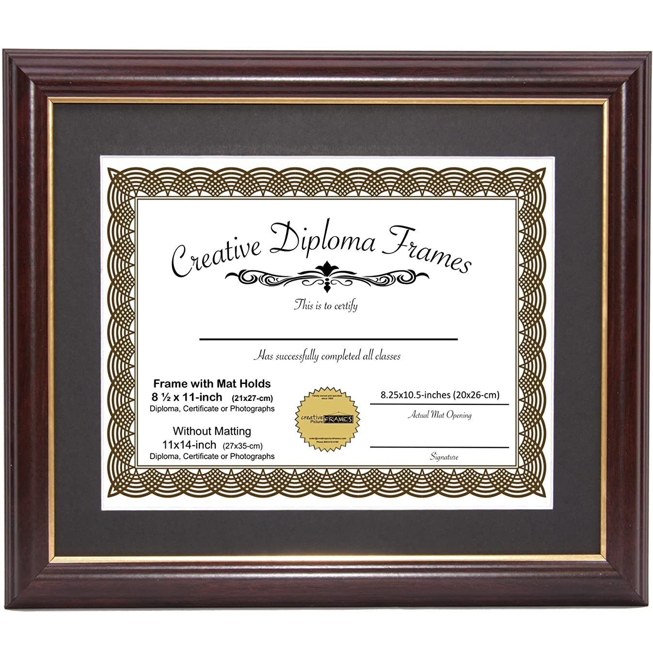 CreativePF [11x14mh.gd] Mahogany Frame with Gold Rim, Black Matting Holds 8.5 by 11-inch Diploma with Easel and Installed Hangers