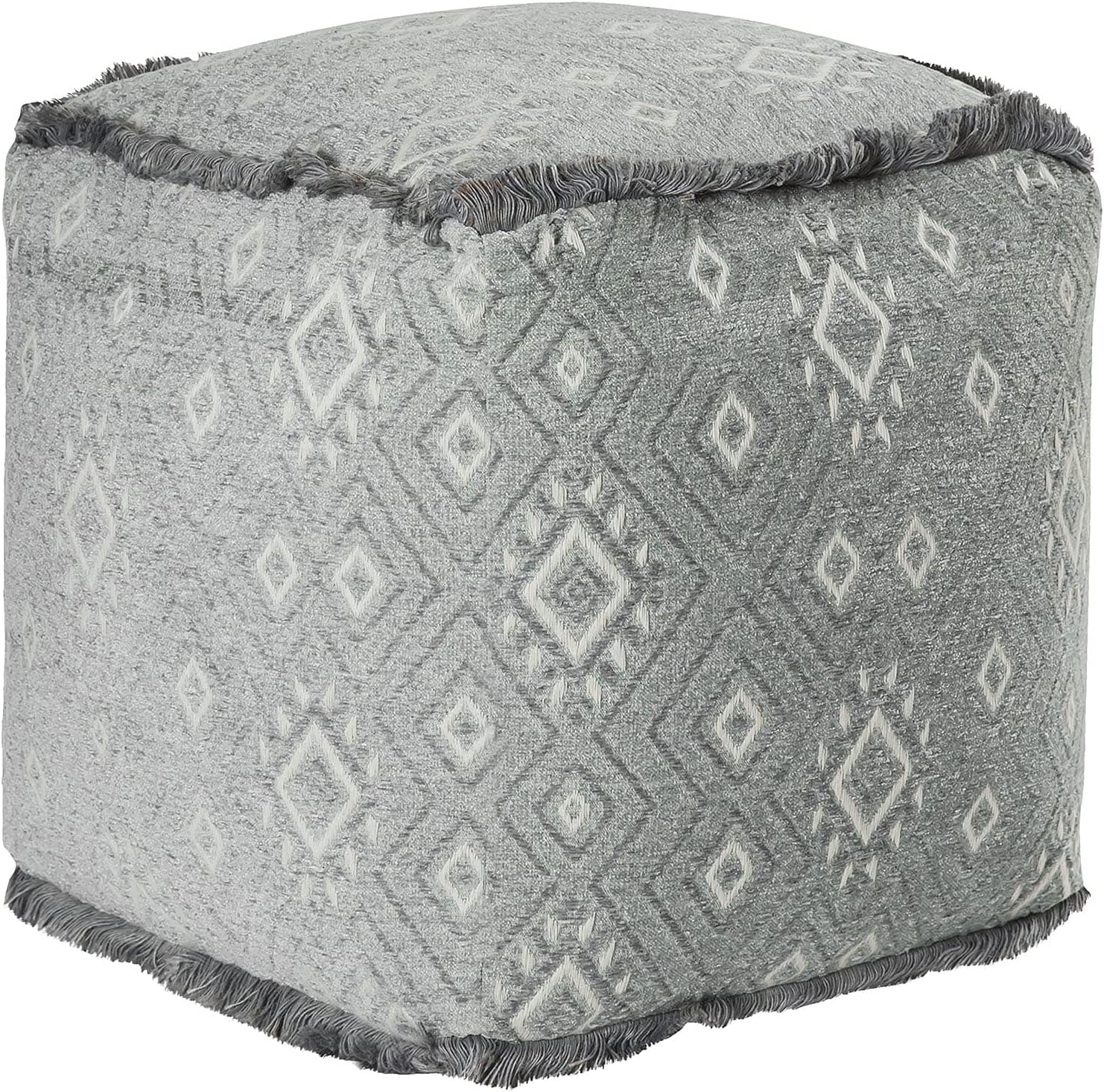 Oklahoma City Mall Unknown1 Pouf Grey Transitional Max 81% OFF Solid Cotton Square