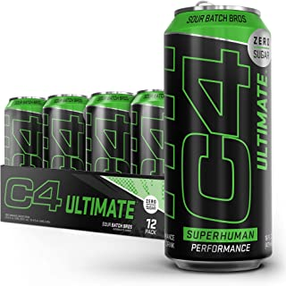 C4 Ultimate Sugar Free Sparkling Energy Drink Pre Workout Performance Drink with No Artificial Colors or Dyes, Sour Batch ...