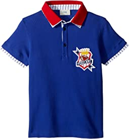 Short Sleeve Polo T-Shirt w/ Football Design On Front (Little Kids)