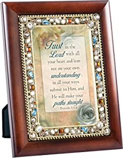 Trust in the Lord Proverbs 3:5-6 Wood Finish Jeweled 4x6 Framed Art Plaque