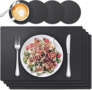 Placemats Set of 4, Tendak Table Mats with Coasters, PU Outdoor Placemats Heat Stain Resistant Waterproof Washable for Kit...