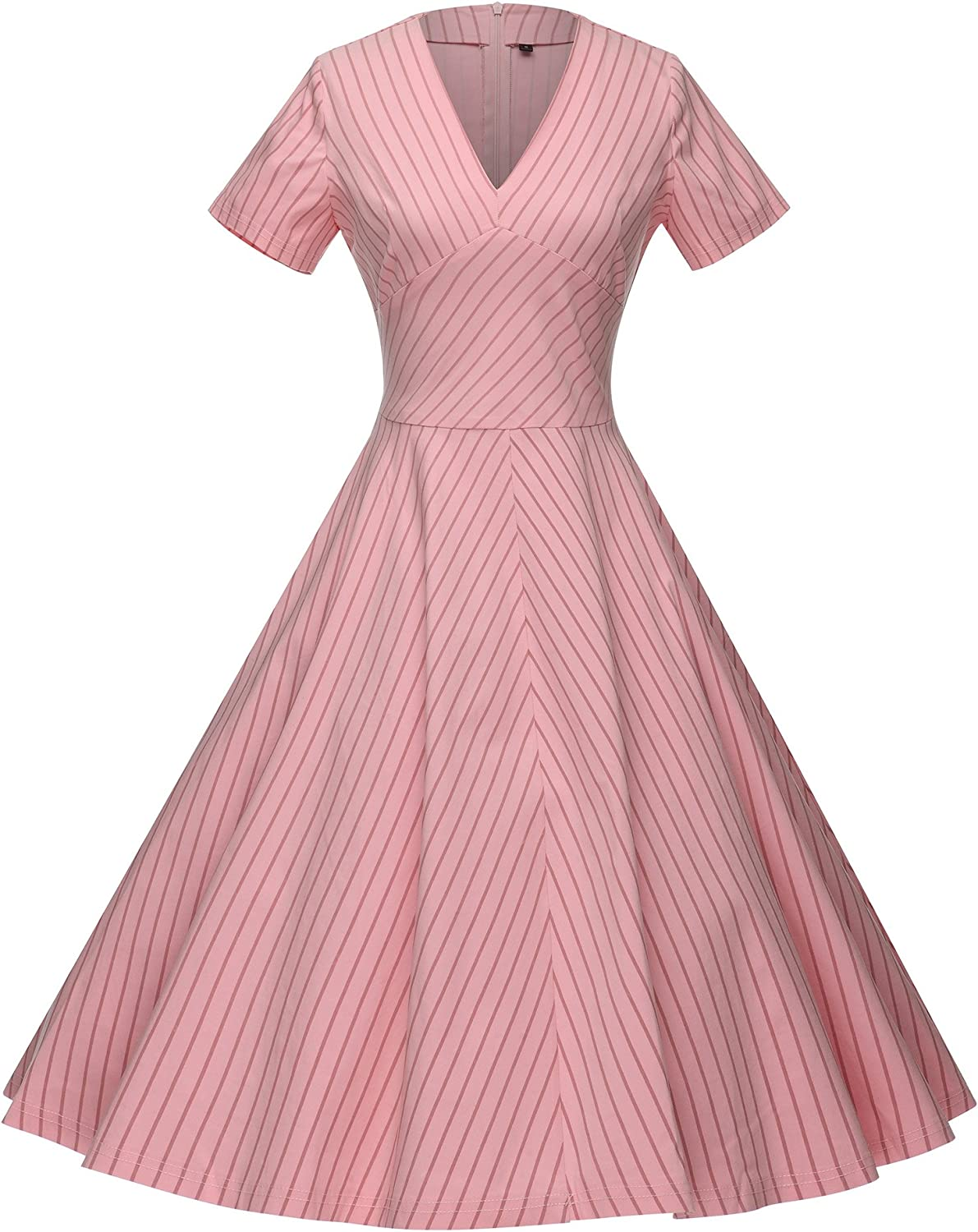 GownTown Women's 50s VNeck Vintage Cocktail Party Swing Dress