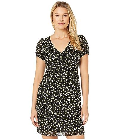 MICHAEL Michael Kors Tossed Lilies V-Neck Dress (Black/Evergreen) Women