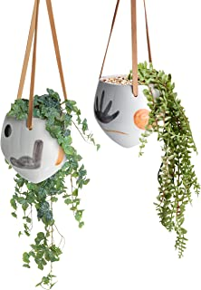 TERESA'S COLLECTIONS Succulent HangingPlanters,Ceramic Plant Pot with AbstractPatterns,Decorative Flower Wall Planter wi...
