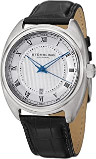 Stuhrling Original Men's Quartz Watch With Silver Dial Analogue Display and Black Leather Strap 728.01