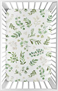 Sweet Jojo Designs Floral Leaf Girl Fitted Mini Crib Sheet Baby Nursery for Portable Crib or Pack and Play - Green and Whi...