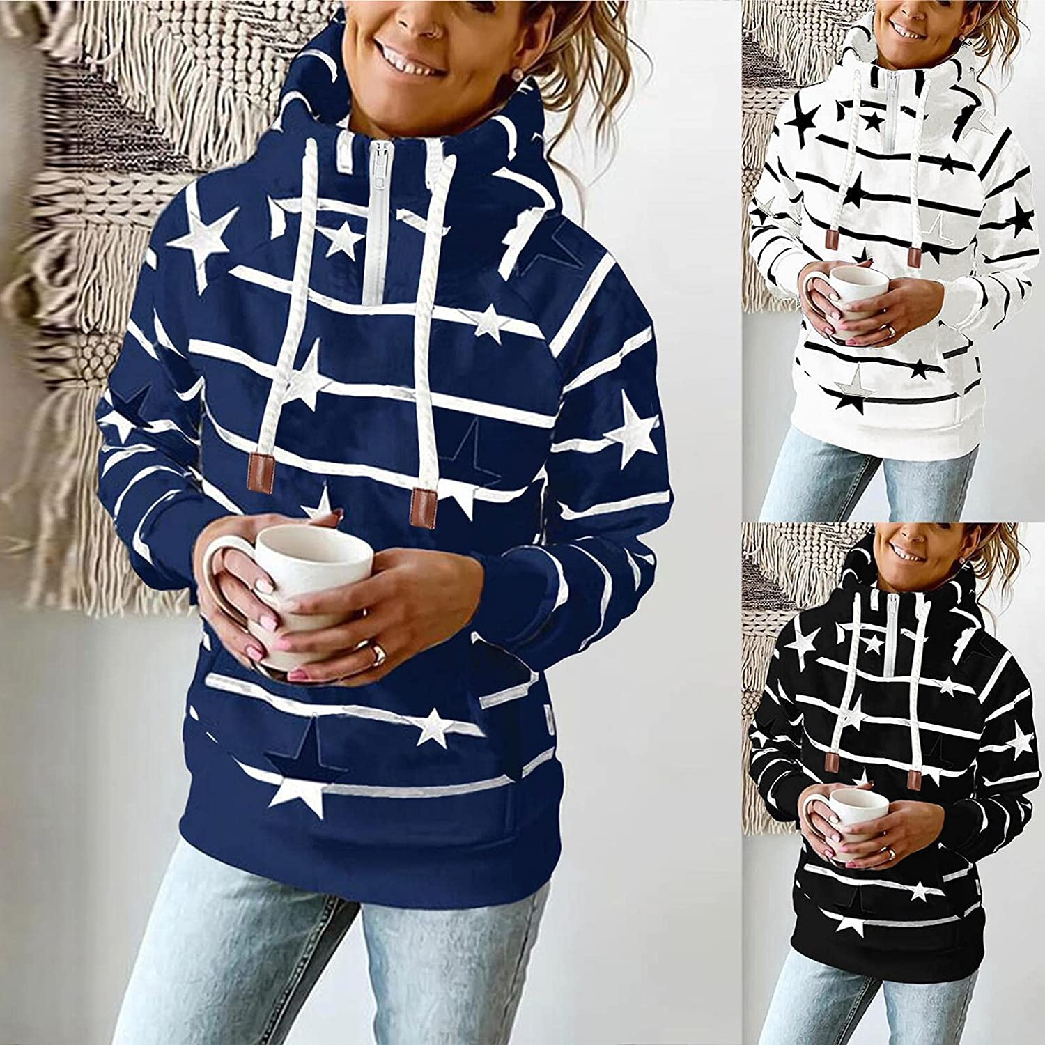 UOCUFY Hoodies for Women Zip Up,Womens Oversized Sweatshirts Striped Printed Long Sleeve Pullover Plus Size Fall Tops