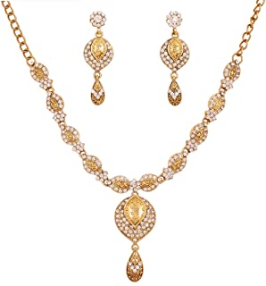 Indian Bollywood Fine Craftsmanship Gaudy Rhinestones Jewelry Necklace Set in Antique Gold Tone for Women