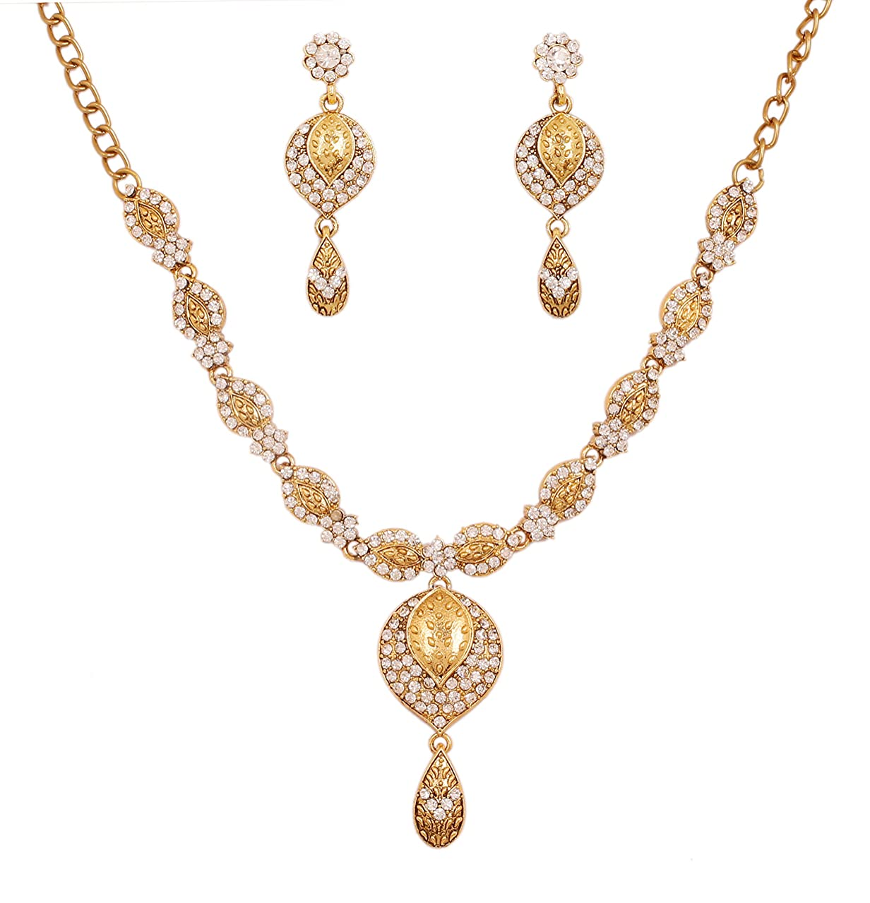 Touchstone Indian Bollywood fine Craftsmanship Gaudy White Rhinestones Jewelry Necklace Set for Women