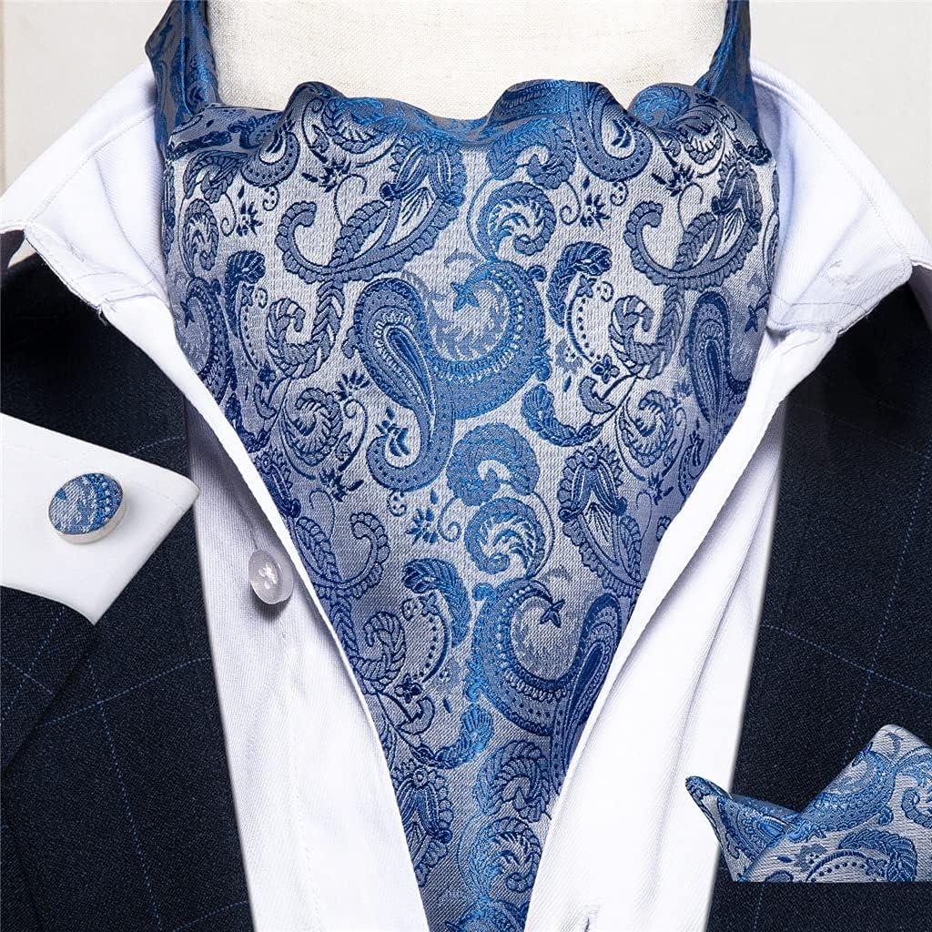 SKREOJF Men Vintage Wedding Formal Cravat British Style Gentleman Polyester Silk Neck Tie Hanky Set (Color : A, Size : One size)
