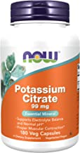 NOW Supplements, Potassium Citrate 99 mg, Supports Electrolyte Balance and Normal pH, Essential Mineral, 180 Veg Capsules