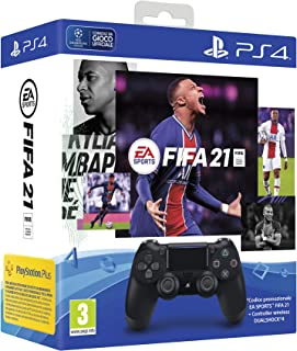 PlayStation 4 - Dualshock 4 Controller Wireless V2 Black + FIFA 21 (Codice Download) + FUT 21 Promo code
