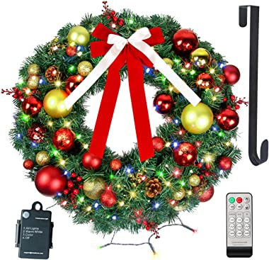 """24"""" Christmas Wreath with Remote LED String Lights - Prelit Xmas Door Wreath - Artificial Pine Garland - Battery Operated Lig"""
