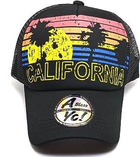632035dbe9435 AblessYo Vintage Trucker Sun   Palm Tree Printed Flat Bill Hat Snapback Cap  AYO1102