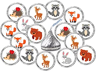 RokAPary 324 Forest Animals Kisses Labels, Woodland Creatures Kisses Stickers for Baby Shower or Birthday Party, Kisses Stickers Kisses Labels, Envelope Sealer