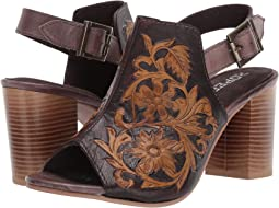 Brown Floral Tooled Leather