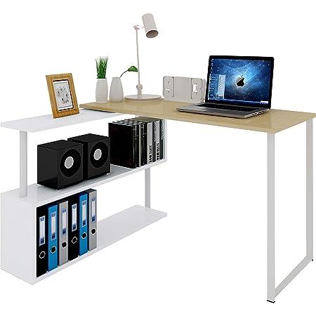 WOLTU TS65hei Table de Bureau en Aggloméré et Acier,Table de Travail PC Table d'ordinateur avec étagères 120x100x74cm,Chêne Clair