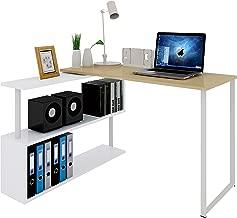 WOLTU TS65hei Table de Bureau en MDF et Acier,Table de Travail PC Table d'ordinateur avec étagères 120x100x74cm,Chêne Clair