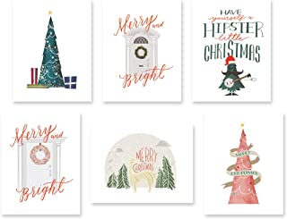 Christmas Cards Box Set of 25, 6 Unique Designs, 25 White Envelopes, Blank Note Cards, Hipster Holiday Greeting Cards