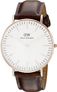 908621b13f57db Daniel Wellington Bristol Rose Men's Quartz Watch with White Dial Analogue  Display and Dark Brown Leather