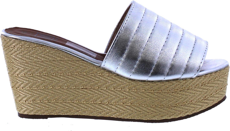 Maker's shoes Laura 3 Espadrille Wedge Sandal (8, Silver)