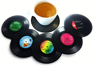 Vinyl Record Disc Coasters | Set of 6 with funny, colorful labels | Perfect for classic music lovers