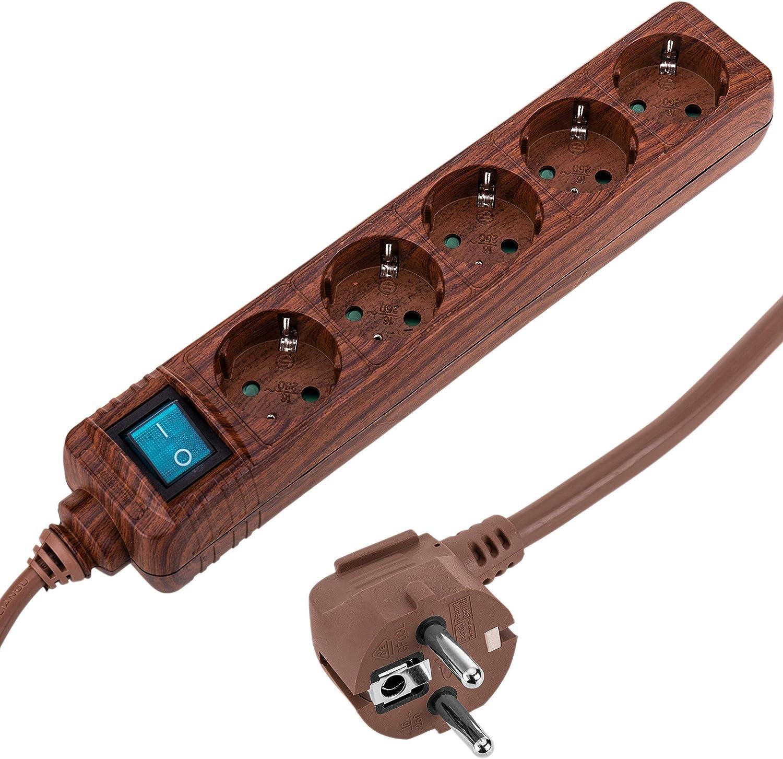 Cablematic - Regleta de enchufes 5 schuko 16A 230V madera con interruptor y cable de 1.5m