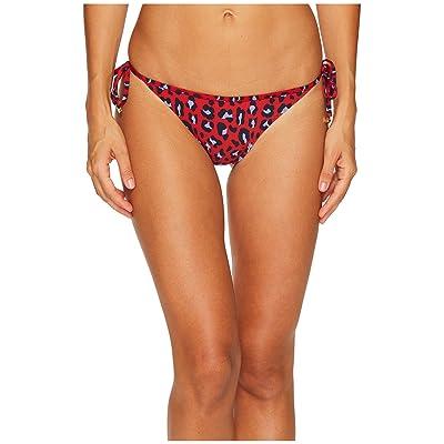 Stella McCartney Leopard Tie Side Bikini Bottom (Navy/Salsa Red) Women
