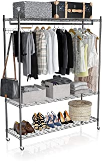 VIPEK 3 Tiers Metal Garment Rack Heavy Duty Clothing Wire Shelves Clothes Stand Rack Wardrobe Adjustable Metal Storage Rack Freestanding Cloth Armoire Organizer with PP Wheels and Bottom Shelves