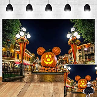 Halloween Decoration Photography Backdrop Cartoon Mouse Head Pumpkin Jack O' Lantern Night Street Scenery Photo Background Vinyl 7x5ft Photo Booth Studio Props Travel Birthday Party Supplies