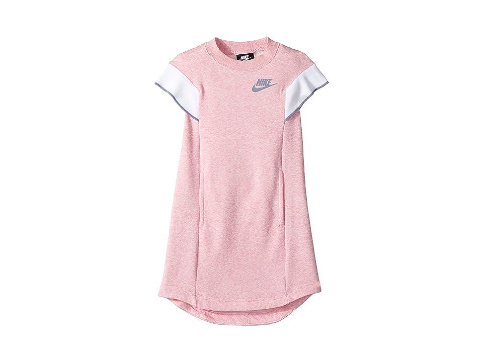Nike Kids NSW Short Sleeve Dress (Little Kids/Big Kids) (Pink/Heather/Ashen Slate) Girl