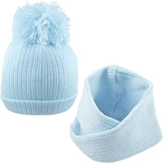 Pesci - Sombrero de pompón para bebé con bufanda, diseño de bufanda, color azul