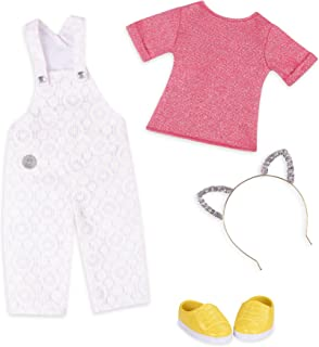 """Glitter Girls by Battat – Glisten & Glam - Lace Overalls & Cat Ear Deluxe Outfit - 14"""" Doll Clothes– Toys, Clothes & Acces..."""