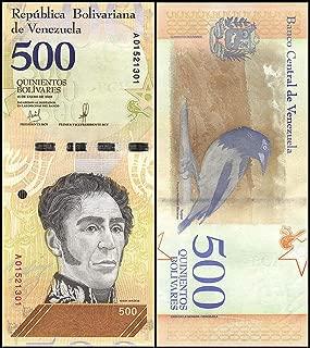 Venezuela Paper Banknotes 500 Bolivares Soberanos Currency 1 Piece