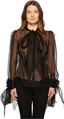 Marchesa - Blush Silk Organza Blouse