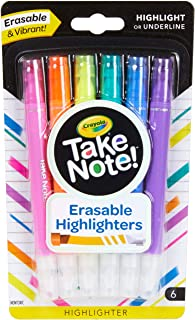 Crayola Erasable Highlighter Crayola Take Note! Erasable Highlighter Markers, 6 Count, Great for Highlighting Textbooks, S...