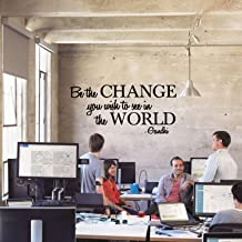 Vinyl Wall Decal Sticker - Be The Change You Wish to See in The World - Inspirational Gandhi Quote - Living Room Wall Art Decor - Motivational Work Quote Peel and Stick (13