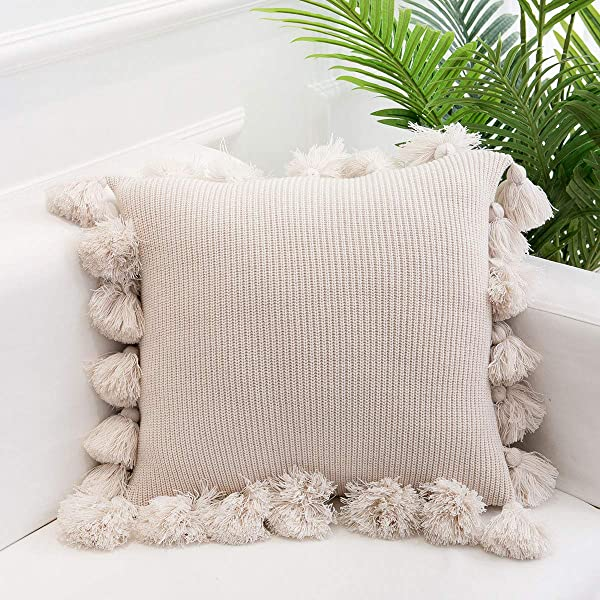 Famibay Knitted Pillow Covers With Pompoms Tassel Boho Striped Cable Knit Throw Pillow Cases Decorative Pillow Cushion Cover Set For Home Sofa Couch Bed 18 X 18 Beige