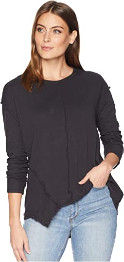 Reverse Rib Long Sleeve and Hem Seam Top