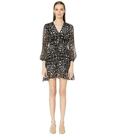 The Kooples Floral Print Short Dress (Black) Women