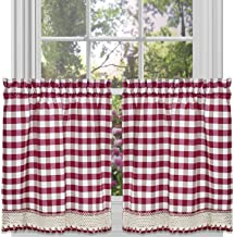 Achim Home Furnishings Buffalo Check Tier Pair, 58-Inch by 24-Inch, Burgundy