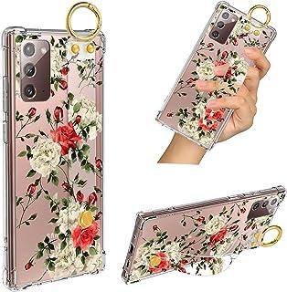 Samsung Galaxy Note 20 5G Case Red Rose Wrist Strap Band Kickstand Soft TPU Bumper Hard PC Shockproof Anti-Fall Scratch-Pr...