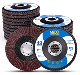 Mido Professional Abrasive 4 1/2 Flap Disc 20-Pack Assorted Grit 40 60 80 120 High Density Abrasive Grinding Wheel 4.5 X 7/8 Inch Flat Type #27 Sanding Disc