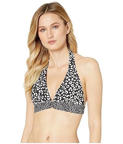 MICHAEL Michael Kors Animal Blend MK Logo Halter Tie Back Bra Top (Black Multi) Women