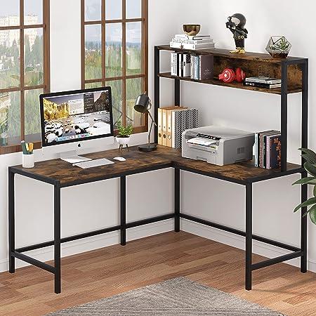 Tribesigns Bureau d'ordinateur en forme de L avec étagère de rangement, grand espace d'écriture (marron)