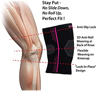 NeoAlly Plus Size Knee Sleeve for Women Medical-Grade Compression Knee Support for Pain Relief Breathable Knee Brace ...